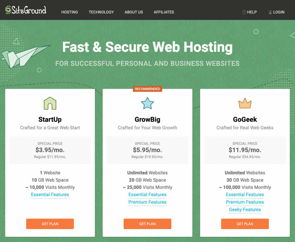 select a hosting plan from SiteGround