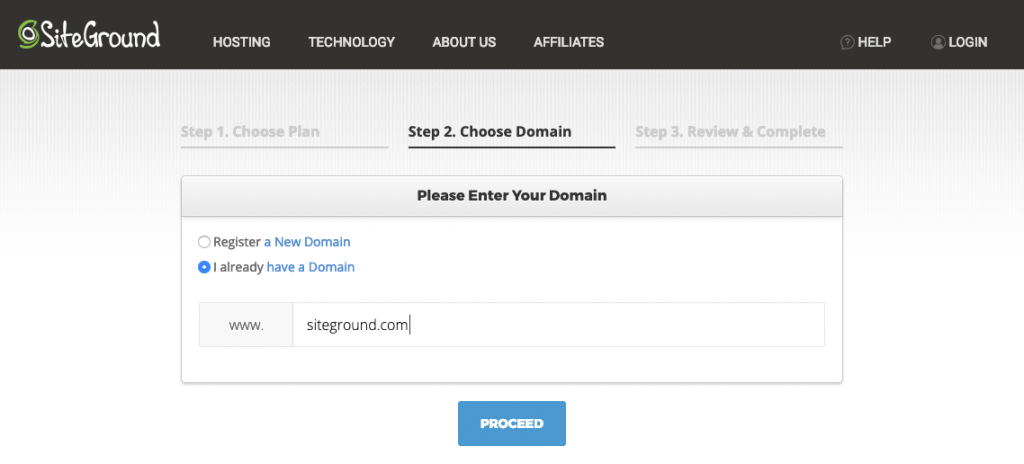 Select a domain from SiteGround