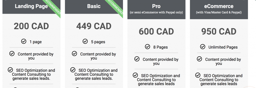 Pricing table of a local website agency in Montreal Quebec Canada.